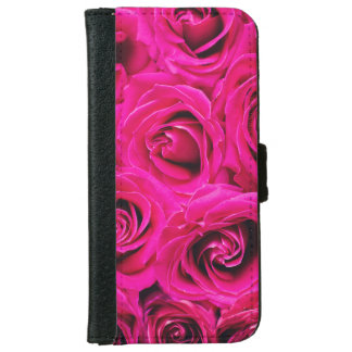 Romantic Pink Purple Roses Pattern iPhone 6 Wallet Case
