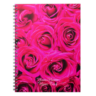 Romantic Pink Purple Roses Pattern Notebook