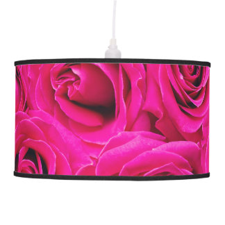 Romantic Pink Purple Roses Pattern Pendant Lamp