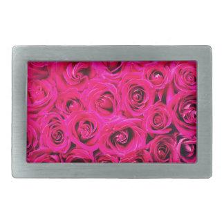 Romantic Pink Purple Roses Pattern Rectangular Belt Buckles