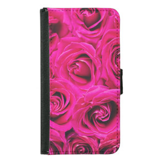 Romantic Pink Purple Roses Pattern Samsung Galaxy S5 Wallet Case