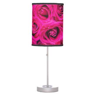Romantic Pink Purple Roses Pattern Table Lamp