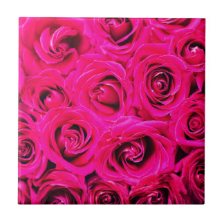 Romantic Pink Purple Roses Tile