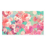 Romantic Pink Retro Floral Pattern Teal Polka Dots Business Cards