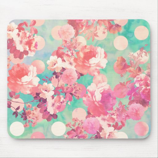 Romantic Pink Retro Floral Pattern Teal Polka Dots Mousepad