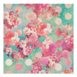 Romantic Pink Retro Floral Pattern Teal Polka Dots Posters