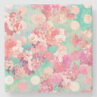 Romantic Pink Retro Floral Pattern Teal Polka Dots Stone Coaster