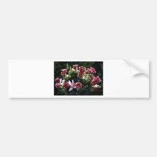 Romantic Pink Rose Bouquet Bumper Sticker