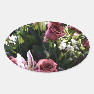 Romantic Pink Rose Bouquet Oval Sticker