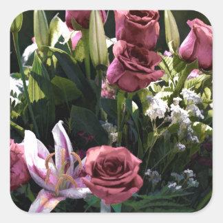 Romantic Pink Rose Bouquet Square Sticker