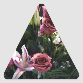 Romantic Pink Rose Bouquet Triangle Sticker