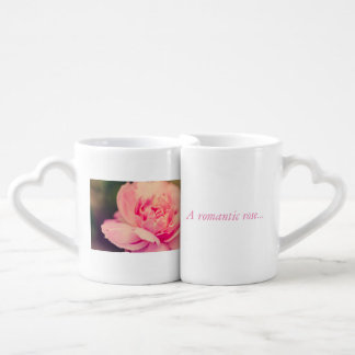 Romantic pink rose coffee mug set
