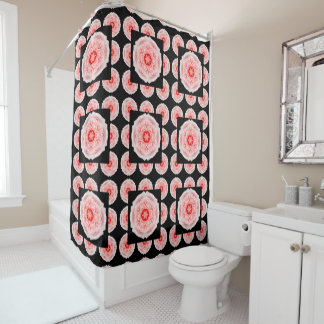 Romantic Pink Rose Pattern Shower Curtain-Tiled