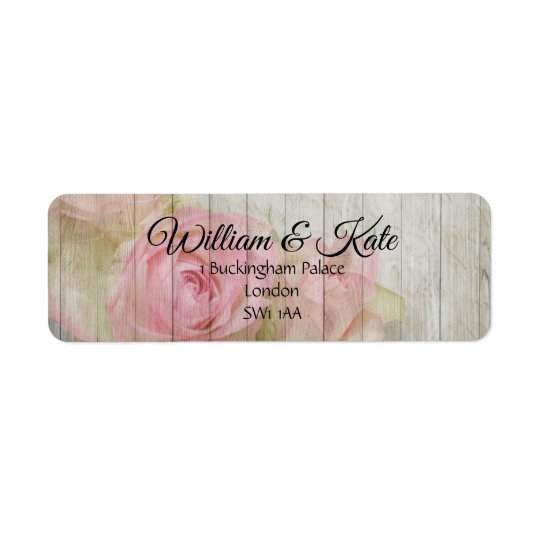 Romantic pink rose return address wedding labels