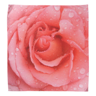 Romantic Pink Rose Water Drops Bandana