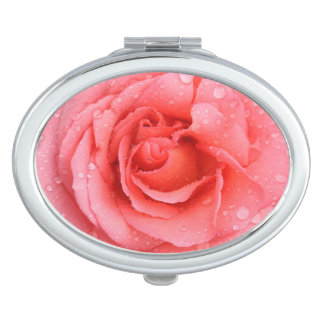 Romantic Pink Rose Water Drops Compact Mirrors