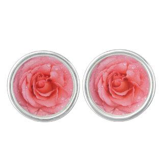 Romantic Pink Rose Water Drops Cufflinks
