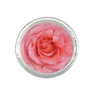 Romantic Pink Rose Water Drops Ring