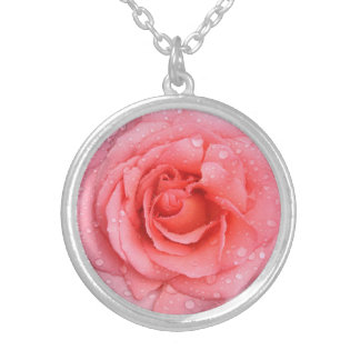 Romantic Pink Rose Water Drops Silver Plated Necklace