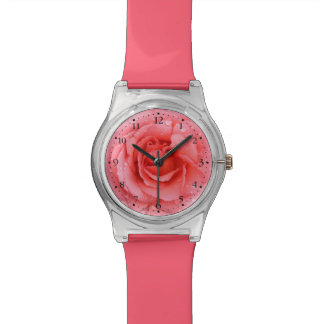 Romantic Pink Rose Water Drops Wristwatches