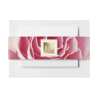 Romantic Pink Rose Wedding Invitation Belly Bands Invitation Belly Band