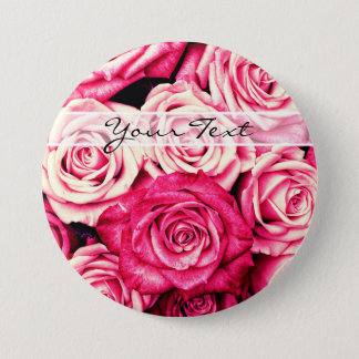 Romantic Pink Roses 3 Inch Round Button