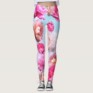 Romantic Pink Roses Athleisure Yoga Pants Leggings