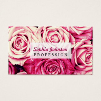 Romantic Pink Roses Business Card
