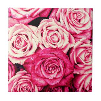 Romantic Pink Roses Ceramic Tile