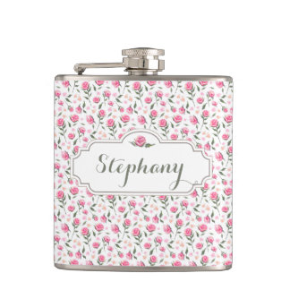 Romantic Pink Roses Custom Name Feminine Flask