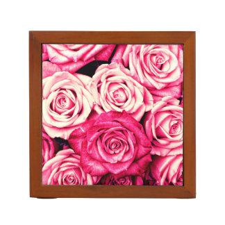 Romantic Pink Roses Desk Organizer