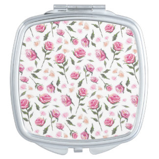 Romantic Pink Roses Feminine Pretty Pattern Mirror Compact Mirror