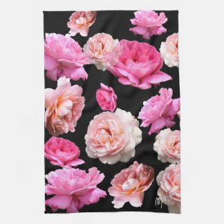 Romantic Pink Roses Floral Kitchen / Hand Towel