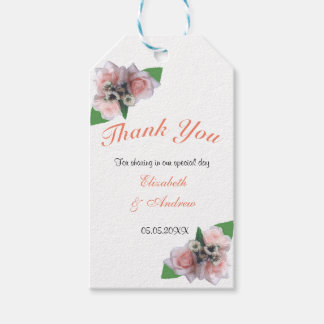 Romantic pink roses floral thank You gift tags