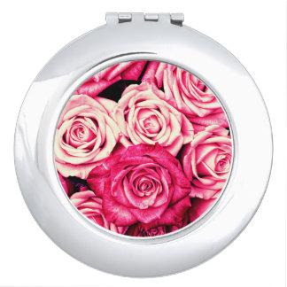 Romantic Pink Roses Mirror For Makeup