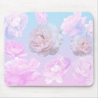 Romantic Pink Roses on Turquoise Floral Mouse Pad