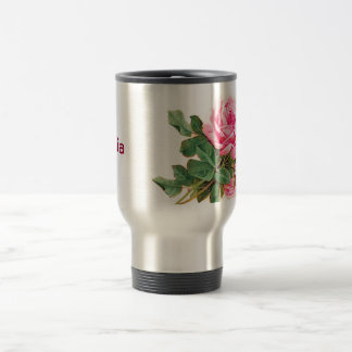 Romantic Pink Roses Personalized 15 Oz Stainless Steel Travel Mug