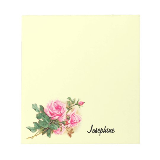 Romantic Pink Roses Personalized Notepad