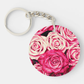 Romantic Pink Roses Single-Sided Round Acrylic Keychain