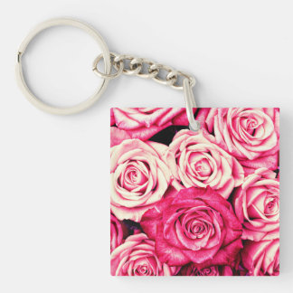 Romantic Pink Roses Single-Sided Square Acrylic Keychain