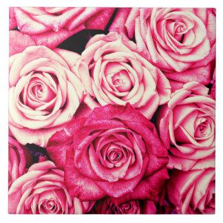 Romantic Pink Roses Tile