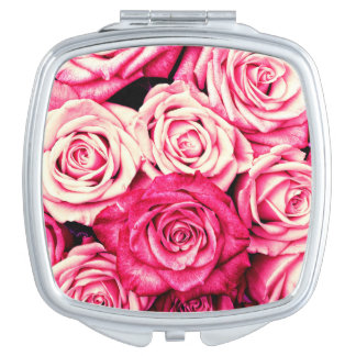 Romantic Pink Roses Travel Mirrors