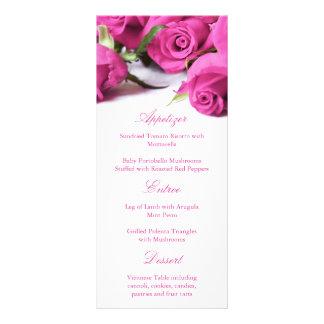 Romantic Pink Roses Wedding Menu