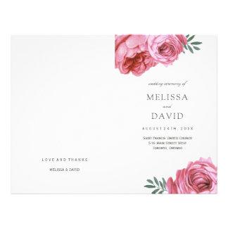 Romantic Pink Roses Wedding Programs