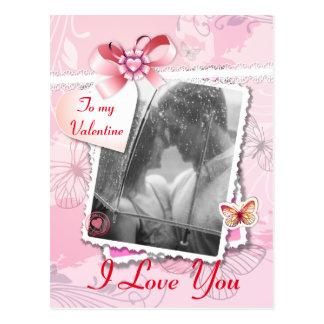 Romantic Pink scrapbook Valentine's photo frame Postcard