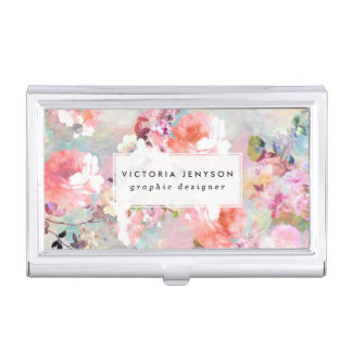 Romantic Pink Teal Watercolor Chic Floral Pattern Business Card Holder