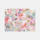 Romantic Pink Teal Watercolor Chic Floral Pattern Fleece Blanket