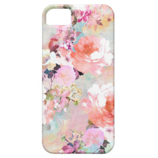 Romantic Pink Teal Watercolor Chic Floral Pattern iPhone 5 Case