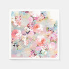 Romantic Pink Teal Watercolor Chic Floral Pattern Napkin