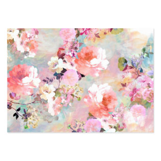 Romantic Pink Teal Watercolor Chic Floral Pattern Pack Of Chubby Business Cards